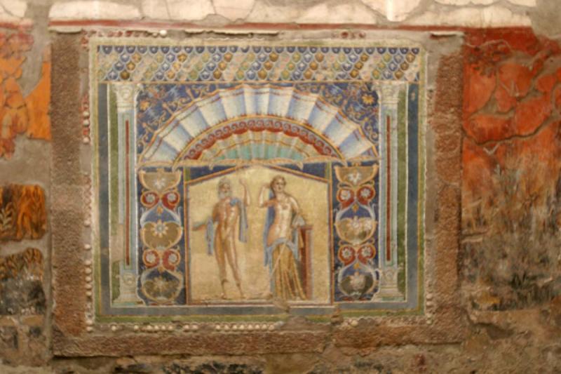 Wall mosaic of Poseidon and Amphitrite
