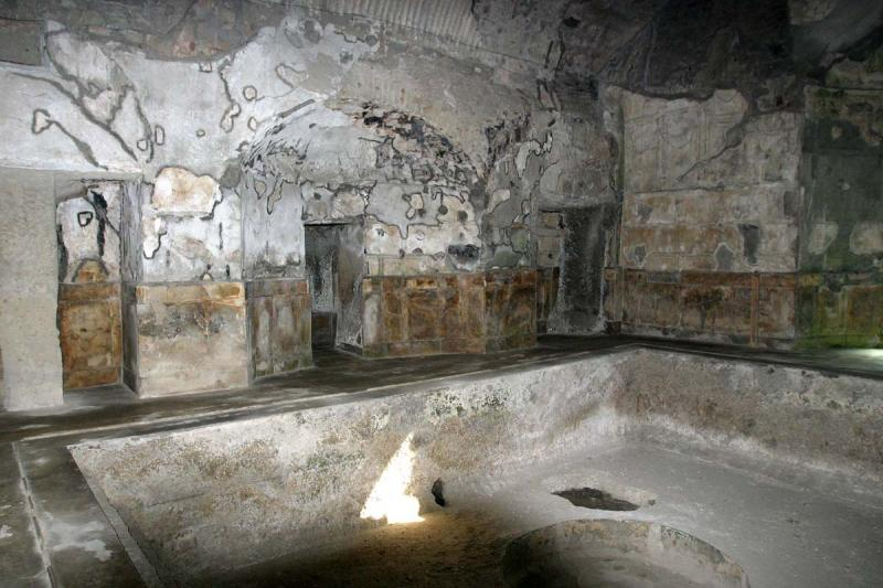 This is the calidarium - the heated bath - on the mens side. The circle you can see in the center of the pool is an early immer