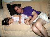 Shannon and Uncle Arthur asleep on the sofa