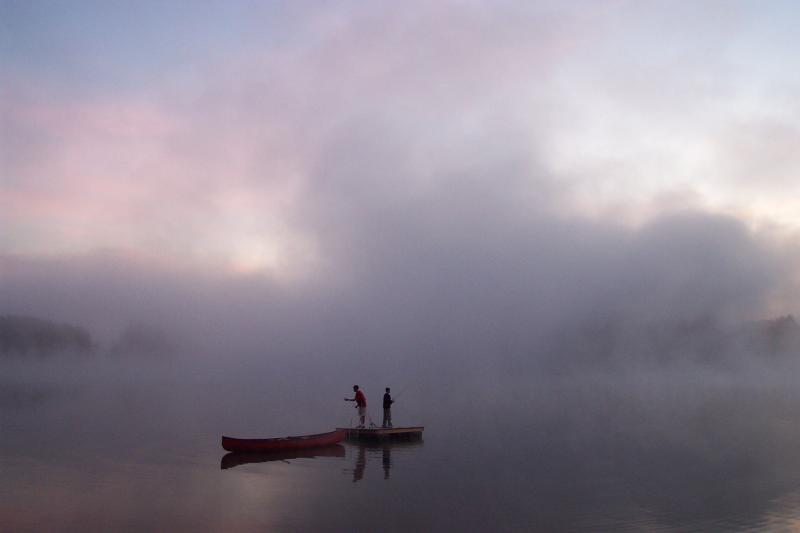 Early-morning fog on Lake Winnipesaukee