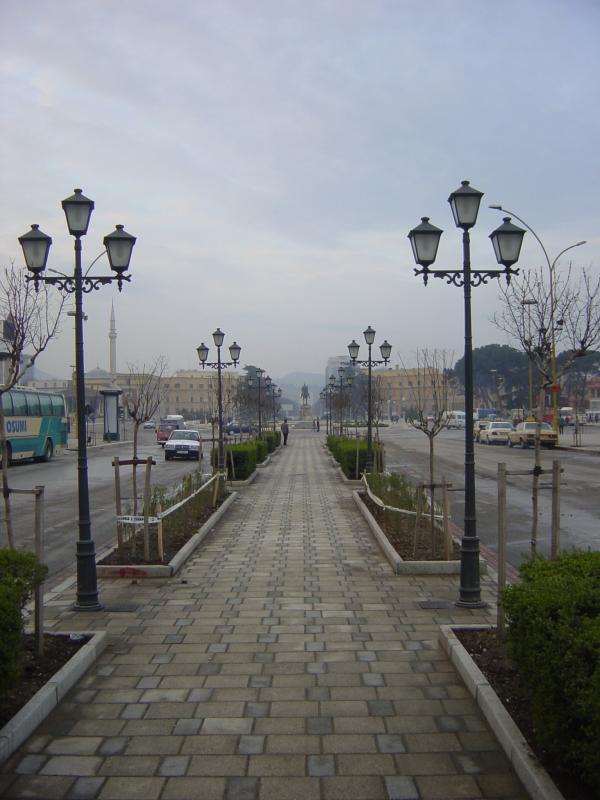 Road leading to central square of Tirana