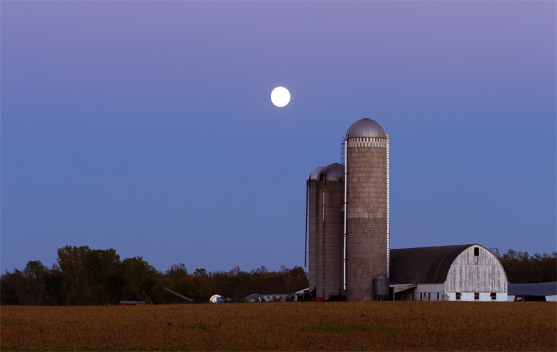 moon and silos