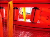Inside the large life rafts