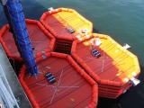 Top view of the four large life rafts.