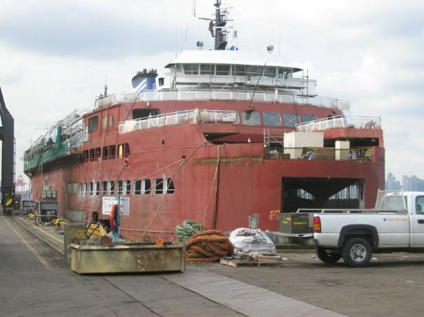 Queen of Cowichan in shipyard