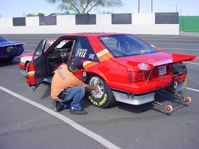 drag racer checking the air