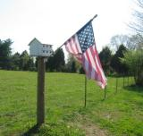 birdhouse and flag on fence post