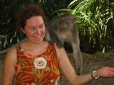 Liesbet at the monkey forest (from Belgium, she was on the Intrepid trip)