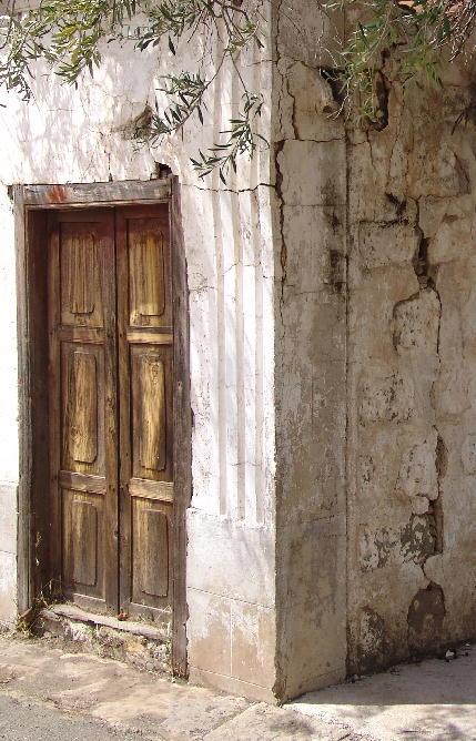 Brown door at corner