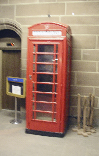 Public phone box in Cathedral.
