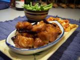 General Tso's Chicken (#52488) with kimchee and steamed green beans