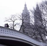 Kissing couple on Bow Bridge, Central Park