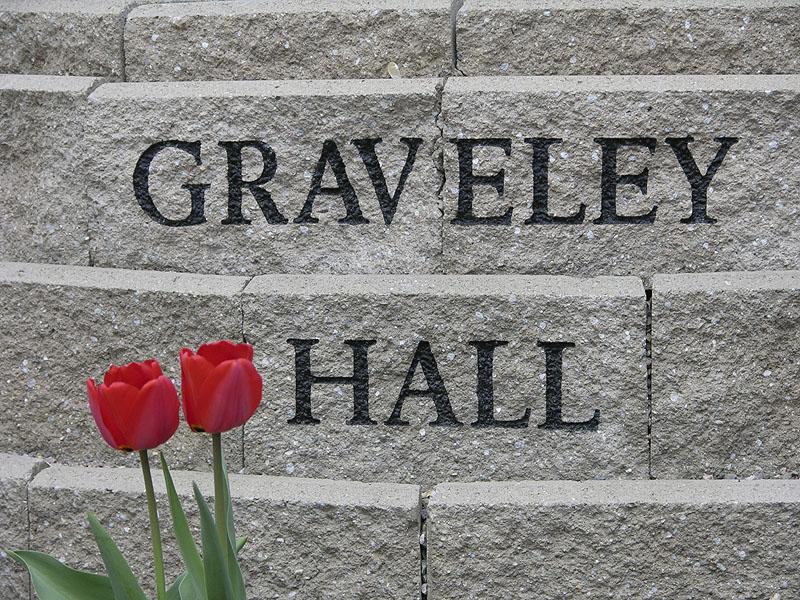 Graveley Hall Sign with Tulips ISU DSCN1073.jpg