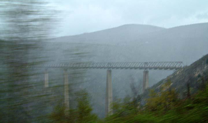 Picking up speed heading downhill from the Mala Rijeka viaduct