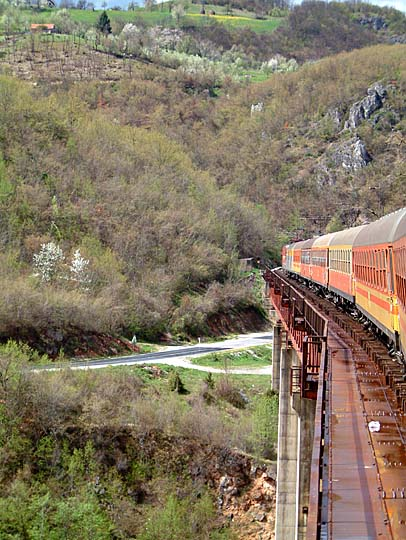 Crossing a viaduct in northern Montenegro