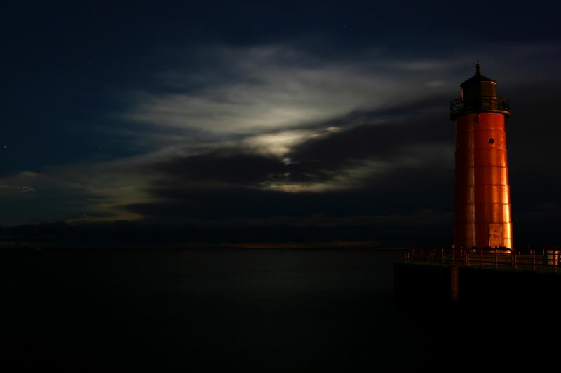 Lighthouse with Moon