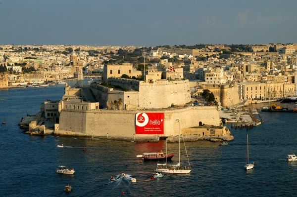 Looking south across the Grand Harbour to Fort San Angelo in Vittoriosa