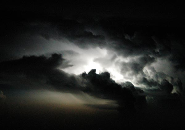 Thunderstorm at night over Malaysia