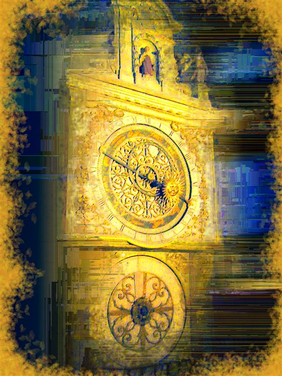 Old Cathedral Clock in Lyon
