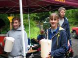 Volunteers ready to refill bottles