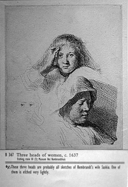 Rembrandt drawing of the ladies
