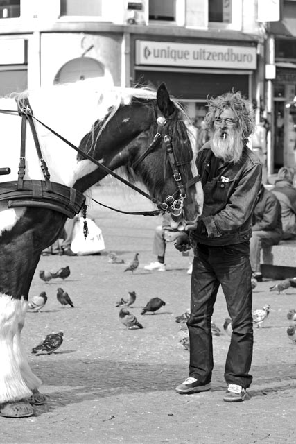 Dam Square man and horse - bw