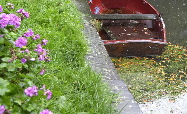 Edam Canal with boat/flowers