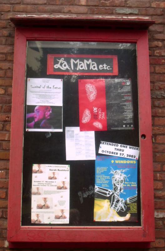 La Mama Theatre between 2nd & 3rd Avenue