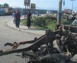 Roadblocks and burning tires