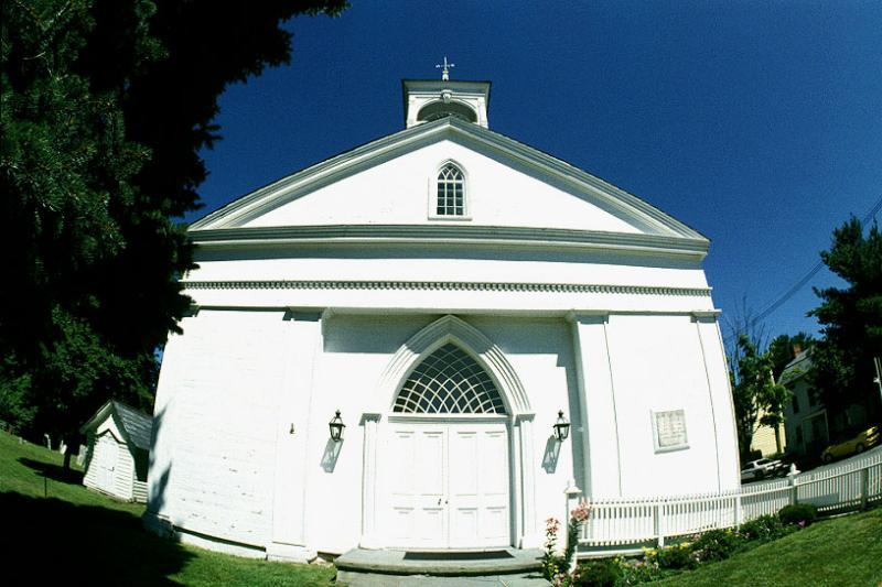 Oldwick NJ. Fisheye View of Church