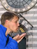 Matt blows a kiss to his patron saint