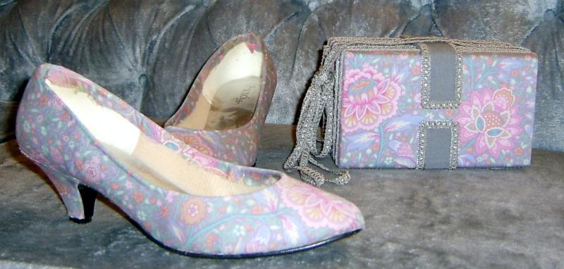 Gray Print Shoes & Purse