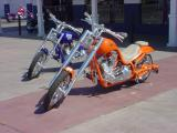 two custom motorcycles
