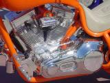 beautiful orange bike  and custom chrome motor