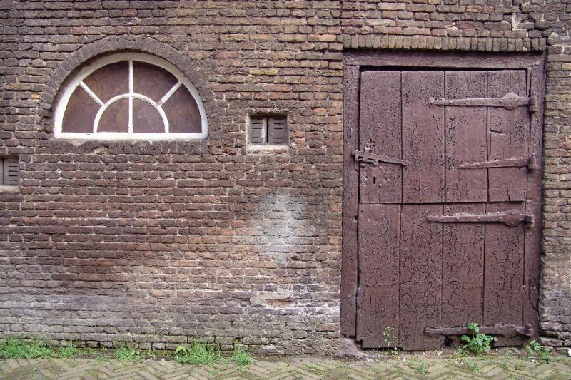 Brown door in old farm
