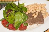 brachiole with cannellini bean salad, mesclun and fruit