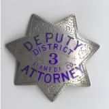 antique deputy district attorney badge from alameda