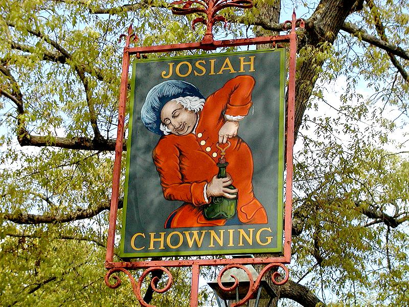 Sign in front of Chownings Tavern