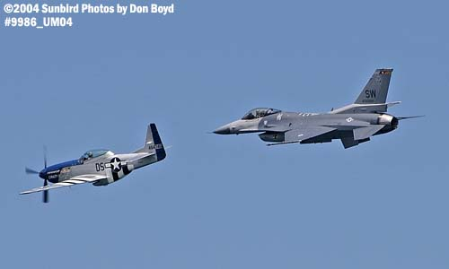 TF-51 Crazy Horse and USAF F-16 at Air & Sea practice show aviation air show stock photo #9986