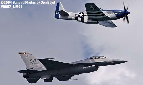 TF-51 Crazy Horse and USAF F-16 at Air & Sea practice show aviation air show stock photo #9987
