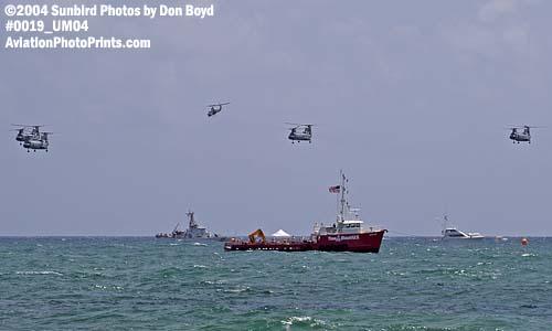 USMC CH-46E Sea Knights and Super Cobra military aviation air show stock photo #0019