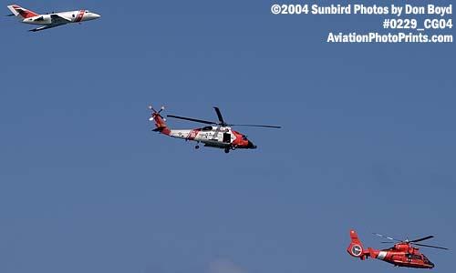 2004 - Coast Guard HU-25 Falcon, HH-60J Jayhawk and HH-65 Dolphin at the Air & Sea Show - Coast Guard aviation stock photo #0229