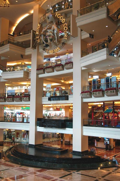 Inside one of the Singapore-style shopping malls