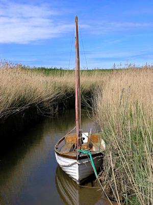 Saiing Boat At Rest. Cley Mill, Norfolk