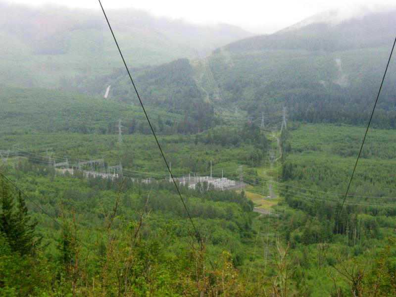 Our route will follow the powerlines up Tiger Mt. way in the distance.  Hwy 18 is the vertical strip on the left.