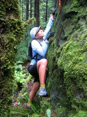 Jenny climbs Lone Rock on the TMT