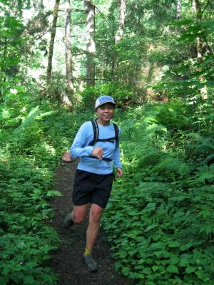 Jenny at the bottom of the Central Peak Trail
