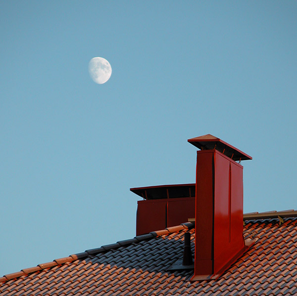 Moon over Frosty Roof