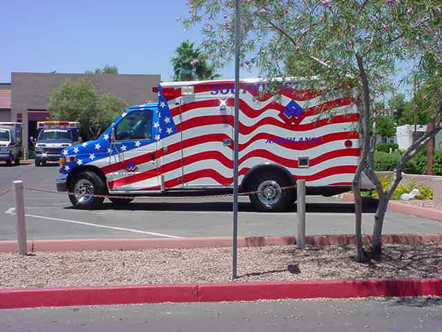 red white and blue<br>ambulance in Mesa