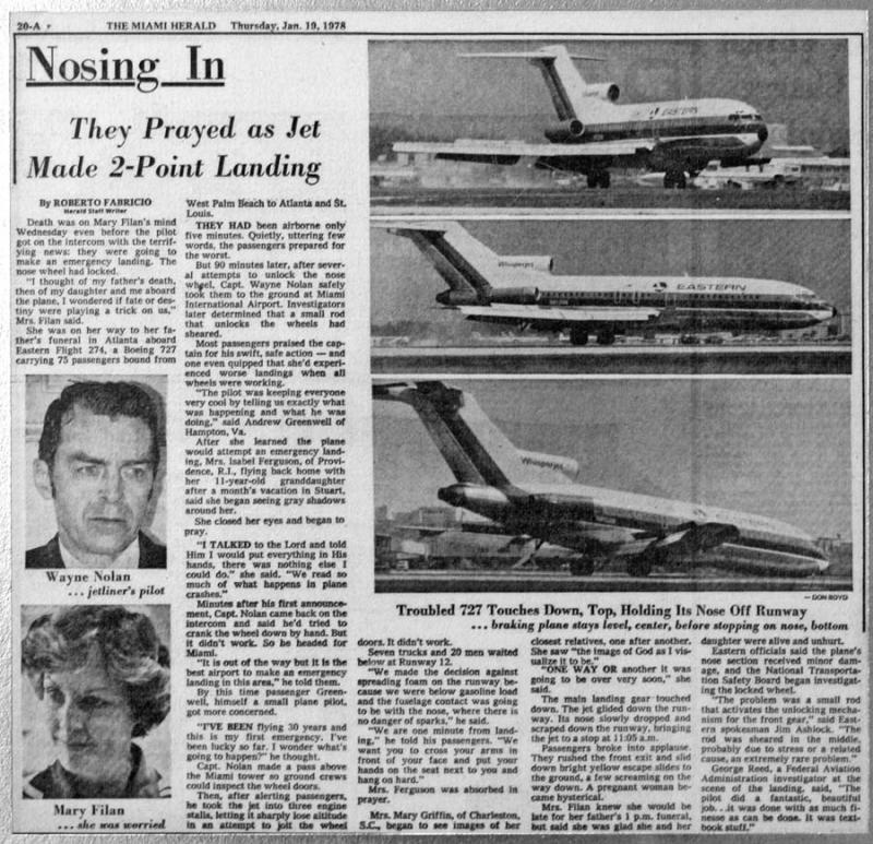 1978 - The Miami Herald - Eastern B727-25 N8126N landing incident